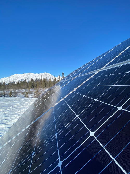 Solar panels in the snow at KLRS